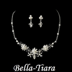 Pretty rhinestone & White Pearl Flower child Necklaces set - SPECIAL