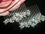 Pretty -- set of 2 floral rhinestone bridal combs -- SPECIAL!!
