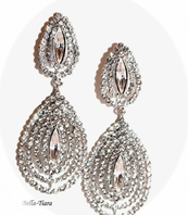 Rachel - Dramatic rhinestone drop earrings - SALE