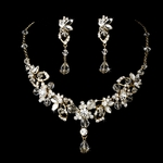 Rashanda - Gorgeous gold w/ Swarovski crystal bridal necklace set