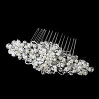 Ravishing - Antique Silver and Ivory Pearl wedding comb Comb - SALE