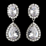 Ravishing Silver Clear CZ Clip On Earrings