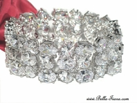 Reba - BREATHTAKING - Elegant wide CZ wedding bracelet - AMAZING PRICE!!