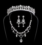 Regal Rhinestone and Silver Bridal Tiara and Jewelry Set