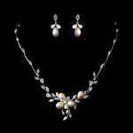 Reginella - CZ vine freshwater pearl bridal necklace set - AMAZINGLY PRICED!!!