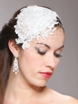 Retro Lace and Silk Bridal Cocktail Hat with Wide Netting - SALE