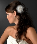 Robyn - Elegant bridal feather clip with crystal - SALE!!