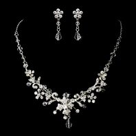 Romana - Delicate Swarovski crystal vine wedding necklace set - SALE