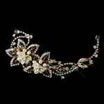 Romantic and beautiful gold champagne hair clip - SALE