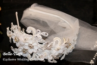 Romantic floral beaded lace wedding headpiece - sold