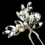 Romantic freshwater pearl and crystal bridal hair pin - SALE