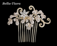 Romantic gold champagne swirl wedding hair comb
