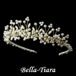 Romantic Gold Plated Pearl and Swarovski Bridal Tiara