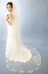 Romantic high end 2 tier lace motif wedding veil - SALE