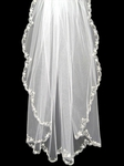 Romantic scalloped floral edge bridal veil - SALE