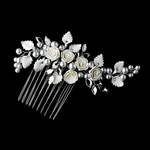 Romantic Silver Pearl roses flower Bridal Comb - SALE