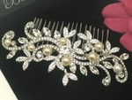 Romantic swirl comb with ivory pearls - SPECIAL