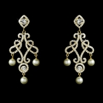 Romantic vintage chandelier gold wedding earrings