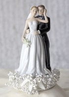 Romantic vintage pearl and rose bride and groom cake topper - SALE