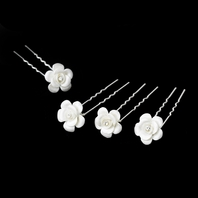 Rosette-Elegant Floral Porcelain Bridal Hair Pins (set of 6) - SALE