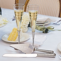 Royal Champagne Flutes and Server Set<br><i>Custom Engraving</i>