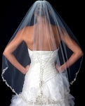 Royal Collection - Amaris - Gorgeous ivory beaded crystal lace edge veil