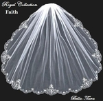 Royal collection - Faith Silver embroidered edge goddess beaded veil - SALE