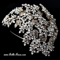 Royal Collection - Gorgeous light gold crystal vine side headband
