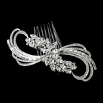 Royal Collection - Gorgeous - Silver Clear Baguette & Marquise Swirl Cut Rhinestone Design Bridal Hair Comb