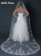 Royal Collection - Isabella - Ivory Cathedral Scalloped Edge Veil with Lace