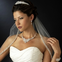 Royal Collection - New Dramatic silver edge cathedral wedding veil - SPECIAL