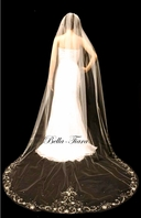 FREE BLUSHER - Royal Collection -Romantic and elegant beaded crystal edge wedding veil