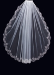 Royal Collection - Silver embroidered beaded bridal veil - SALE