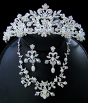 Royal Couture Crystal and Pearl Tiara with Necklace Set -SALE!!