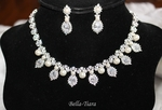 Royal romance CZ pearl bridal necklace set - SALE