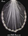 Ruisa - Royal Collection - Swarovski silver embroidery edge wedding veil - SALE