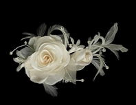 Santa - Romantic Ivory bridal hair flower
