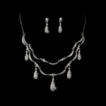 Sarah-Elegant crystal rhinestone drops necklace set.