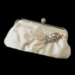 Satin ivory wedding Bag with Diamond White Pearl Accent - SALE