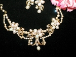 Scarlet - Beautiful Freshwater Pearl Gold Bridal Necklace Set