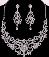 Selia - NEW!!  Vintage inspired dramatic bridal necklace set - SPECIAL!!  two left
