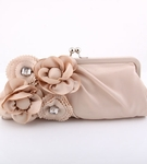 Serata - Couture champagne crystal satin evening purse - SALE