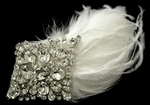 Serha - Royal Collection -- Designer  Swarovski crystal comb with feathers - SALE