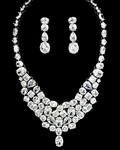 Shandra - Dramatic cz wedding necklace set - SPECIAL price