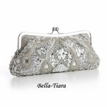 Silver Evening or Bridal Bag with Beads, Sequins & Gems