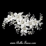 CIRA - Silver Ivory Freshwater Pearl Bridal Flower Hair Clip - SALE