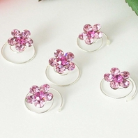 Silver/Pink Floral Hair Accents Twist In's<br><i>Set of 12</i>