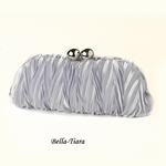Silver Satin Evening Bag