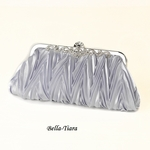 Silver Satin Evening Bag with Rhinestone Accented Vintage Frame