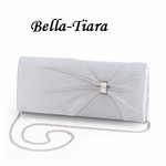 Silver Satin Wedding Purse